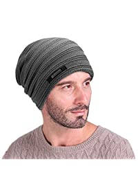 EINSKEY Mens Beanie Hat Winter Thick Fleece Lining Skull Cap Warm Knitted Hat