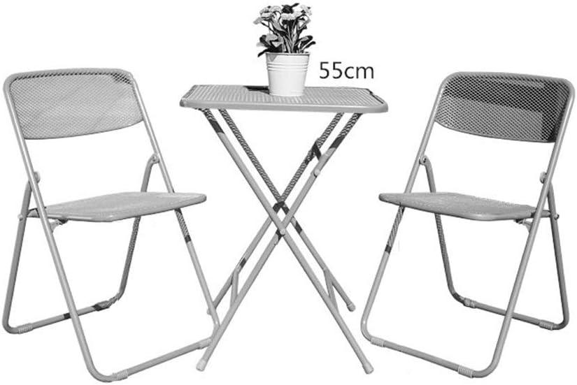 YAOS Stahlgewebe und Eisen Art 3 - teiliges Set, Mode Klappstühle Gartenmöbel Hof Der Tiantai Garten Balkon Freizeit Kombination | Graulich weiße Frucht-grüner Tee-Tabelle
