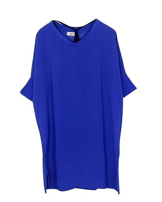 Moollyfox Mujer Chiffon Blusa Camisa Gasa Manga Corta Camiseta Top T Shirt Blouse Larga Gran Tamaño