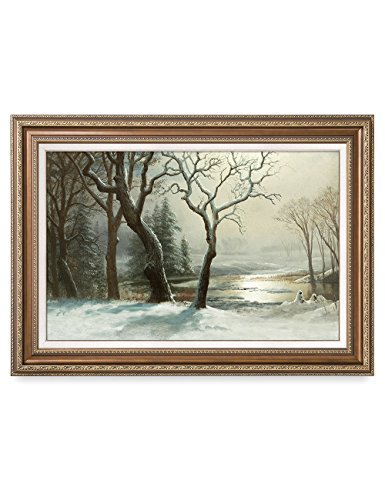 Bierstadt Frame Canvas - DECORARTS -Winter in Yosemite, Albert Bierstadt Classic Art Reproductions. Giclee Prints & Matching Frame for Home Decor, 30x20, Framed Size: 35x25
