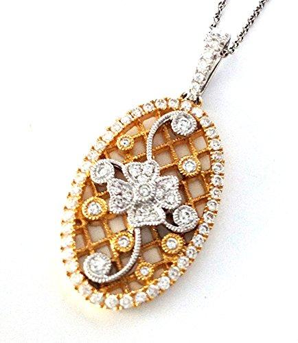 .62 CTS Oval Antiqued Floral Diamond Design Pendant 14k Gold Migrain Edges ()