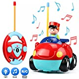 UNEEDE Kids Rc Car Remote Control Car Cartoon Race Car Radio Control Toy Rc Vehicle Carton Car Toy with Music, Light for Toddler Baby Child Boy Girl as Kids Holiday Birthday Gift