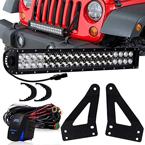 "DOT 20Inch 22"" Offroad LED Light Bar + 2x Front Bumper Grille Mounting Brackets + 1x DT Connector Wiring Harness + 1x Rocker Switch For 2007-2016 Jeep Wrangler JK JKU Unlimited Rubicon Sahara Sport"