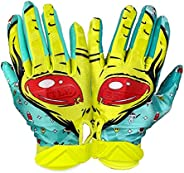 Battle Sports Alien Cloaked Receiver Gloves for Adults - Ultra-Tack Sticky Palm Pro-Style Gloves
