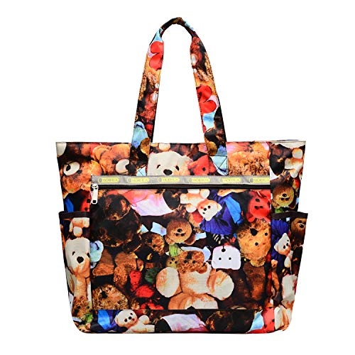 Nylon Large Lightweight Tote Bag Shoulder Bag for Gym Hiking Picnic Travel Beach Waterproof Tote Bags (Bear TB1)