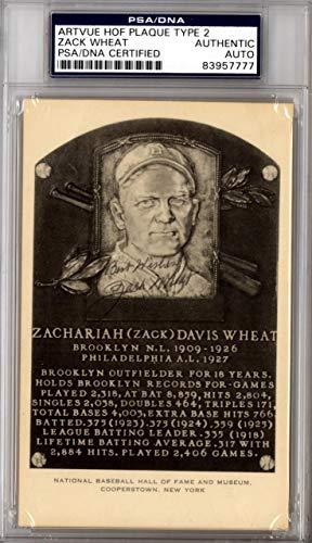 "Zach Wheat Autographed Artvue HOF Plaque Postcard Brooklyn Dodgers""Best Wishes"" #83957777 PSA/DNA Certified"