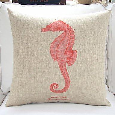18/'/' Sea Horse Cotton Linen Sofa Waist Cushion Cover Pillow Case Home Decor