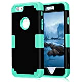 iPhone 6S Plus Case, iPhone 6 Plus Case, NOKEA Hybrid Heavy Duty Shockproof Full-Body Protective Case Ultra Slim Bumper Cover 3 in 1 Shield Soft TPU Hard PC Dual Layer Impact Protection (Black Mint)