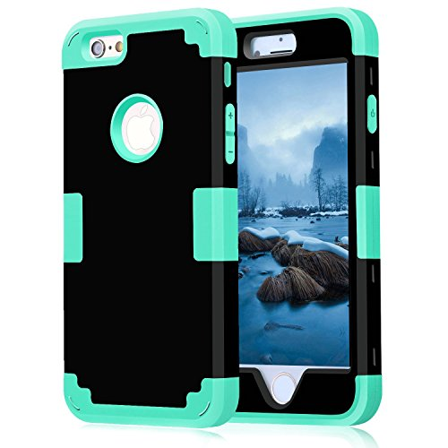 iPhone 6 Case 4.7, iPhone 6 Cases Hard Cover Shell TPU Rubber 2 Piece Ultra Slim Thin Bumper Covers Apple iPhone 6S Case Durable Protective Design Hybrid Defender Heavy Duty Shockproof (Black Aqua)
