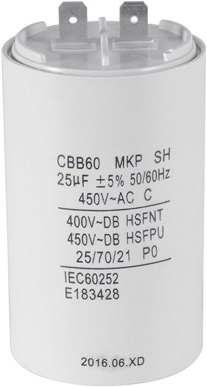 CBB60 40UF 450V AC 50Hz//60Hz Water Pump Capacitor White
