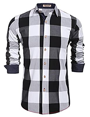 HOTOUCH Men's Plaid Long Sleeve Casual Button Down Shirts