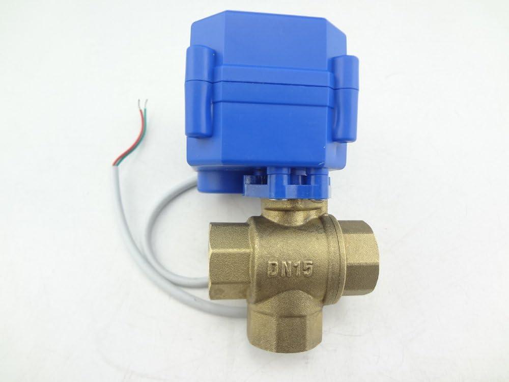 HSH-Flo 1//2 3//4 1 3 Way 12V//24VAC//DC 110V//230VAC Brass L Port Electrical Motorized Ball Valve 110-230VAC, 1//2 Inch