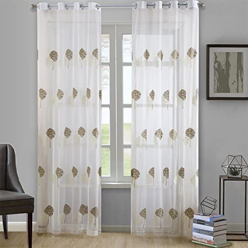 Dreaming Casa Brown Trees White Embroidery Window Sheer Curtains for Living Room Grommet Top Curtain Drapes for Bedroom 52 W x 63 L Set of 2 Panels