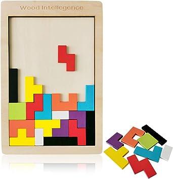 Meerveil Madera Tetris Juguete Puzzle Rompecabezas Jigsaw Juego Mágico para Niños: Amazon.es: Juguetes y juegos