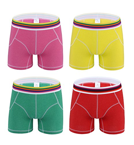 Designer Boxer Shorts (Nuofengkudu Mens 4 Pack Performance Active Sporty Long Boxer Briefs Trunk Bright Color Shorts Underwear Pants Pack (S))