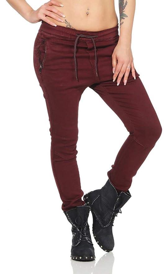 OSAB-Fashion 10668 LEXXURY Damen Jeans Hose Boyfriend Haremsjeans Gummibund Röhrenjeans Joggpants