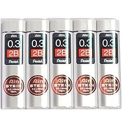 Pentel Ain Pencil Leads 0.3mm 2B, 15 Leads X 5 Pack/total 75 Leads (Japan Import) [Komainu-Dou Original Packege]