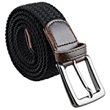 moonsix Braided Stretch Belts for Men,PU Leather Elastic Fabric Woven Webbing Belt,Style 1-Black