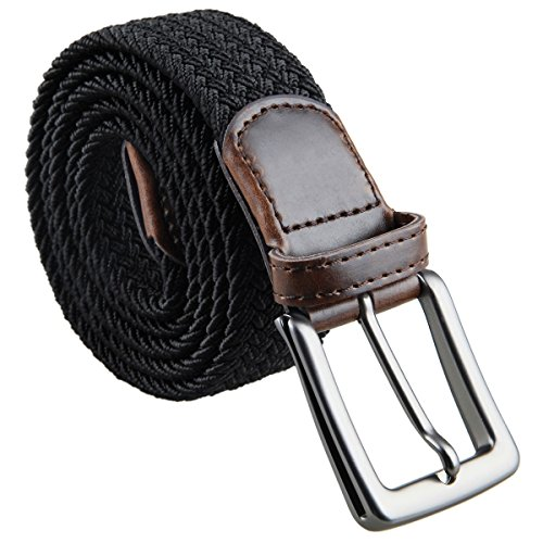 moonsix Braided Stretch Belts for Men,PU Leather Elastic Fabric Woven Webbing Belt ,Style (Detail Stretch Belt)