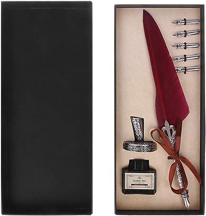 Lailongp - Juego de bolígrafos de tinta para caligrafía inglesa, caja de pluma con 5 plumas estilográficas, para la escuela, oficina, papelería, regalo de boda: Amazon.es: Oficina y papelería