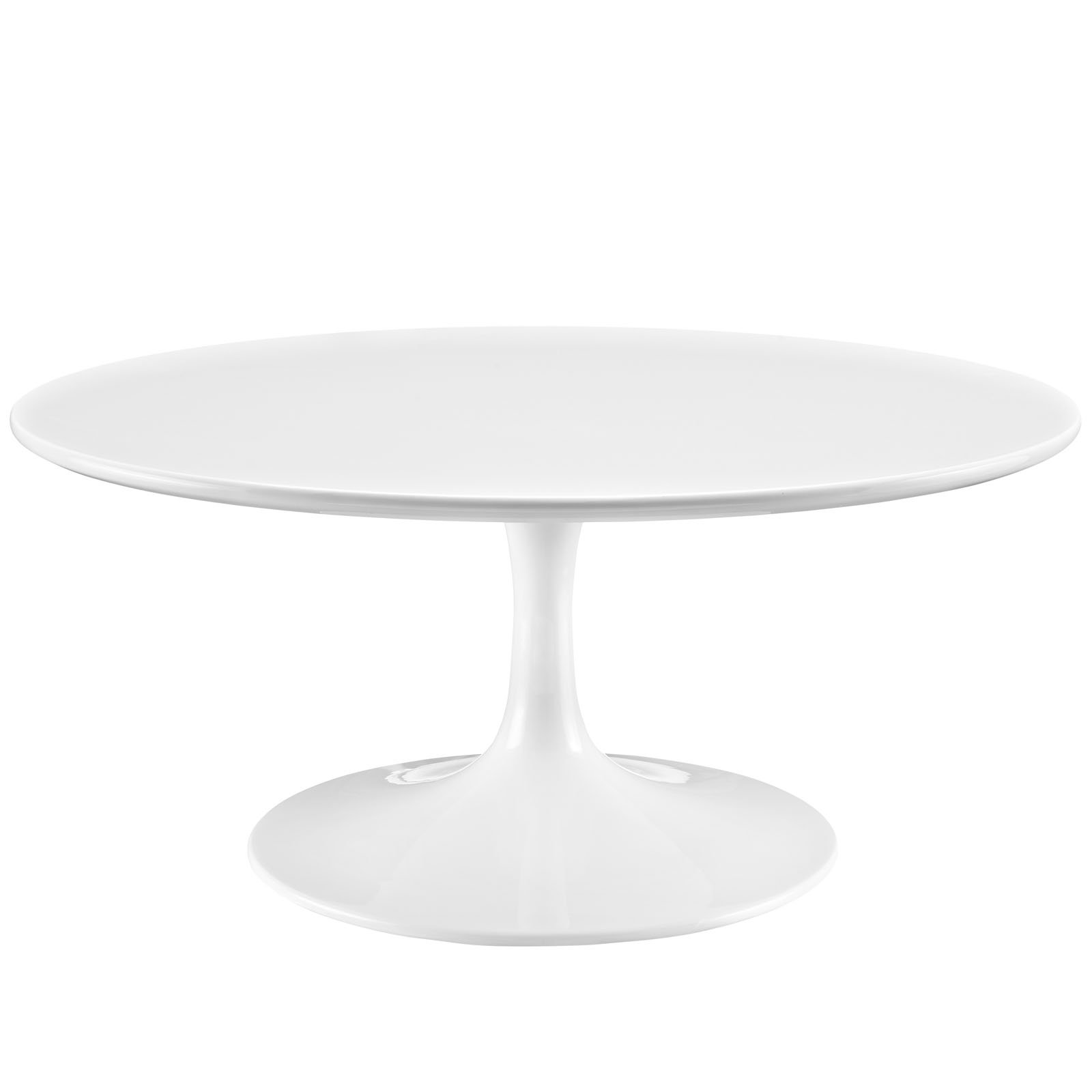 Modway Lippa Mid-Century Modern 36'' Round Fiberglass Coffee Table in White by Modway
