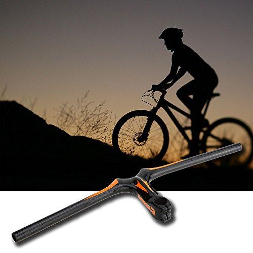 New Road Bike Flat Handlebar 620 110mm Integrative Full Carbon Fiber Mountain Bike Handlebar with Stem (Orange) by Taya (Image #1)