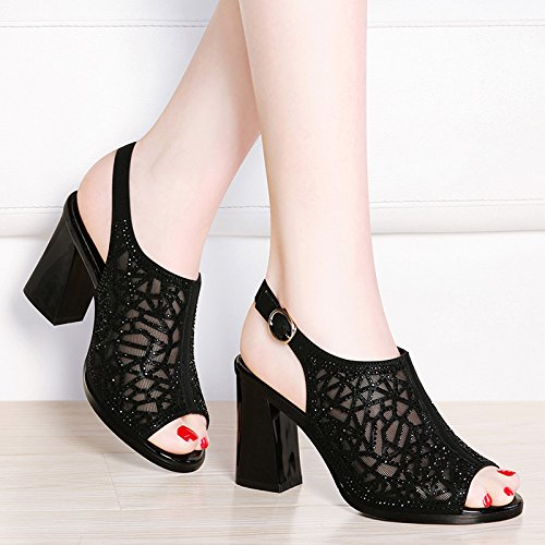 HUAIHAIZ Shoes Tacones toe Black Heel rocío alto altosPresidente ZAZqa