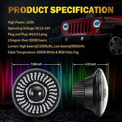 Jeep LED RGB Headlight with Amber Turn Signal, SUPAREE 7 Inch Round Halo LED Headlight Fits 1997~2020 Jeep Wrangler JK TJ LJ with Bluetooth Remote Control 120W 12000LM High Low beam-2PCS: Automotive