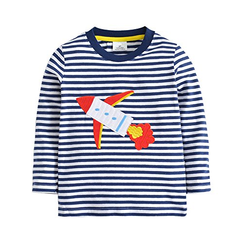 HUAER& Baby Boys Cartoon Dog Cotton Long Sleeve T Shirt Rocket Print Tops1.5T-7T (4-5T(height100-110cm/38-42inch), Blue and White Stripes) 4 Dog T-shirt