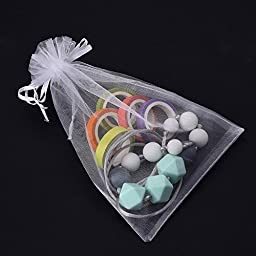 Mudder Organza Gift Bags Wedding Favor Bags Jewelry Pouches, Set of 50, White
