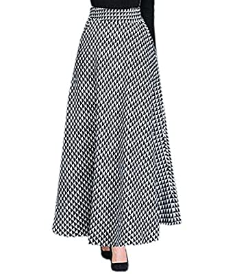 GRMO Women High Waist A-Line Casual Wool Blend Plaid Long Flared Skirt