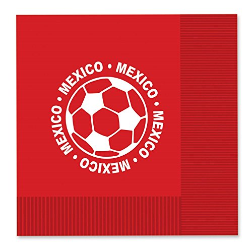 Club Pack of 192 Red and White 2-Ply ''Mexico'' Soccer Ball Paper Party Lunch Napkins 6.5'' by Party Central
