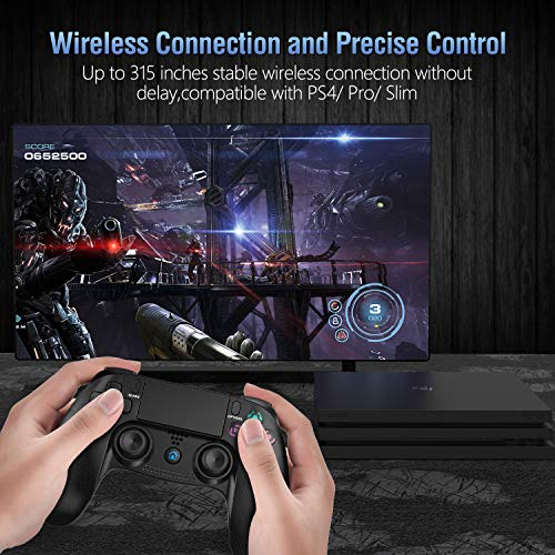 Gamory Mando Inalámbrico para PS4, Mando para PS4/Pro/Slim/ PC, Controlador inalámbrico, Gamepad Wireless Bluetooth Controlador Joystick con Vibración Doble/Turbo/ Puerto de Audio/ Pantalla LED
