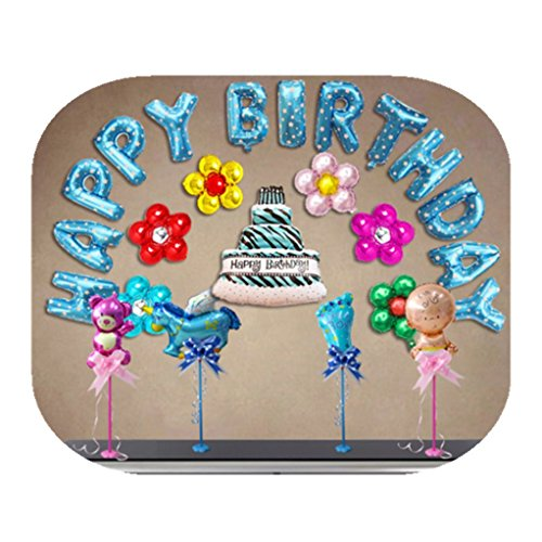 Happy birthday foil balloons banner, letters flower cake shaped party celebration decorations (Letter Home To Parents For Halloween Party)
