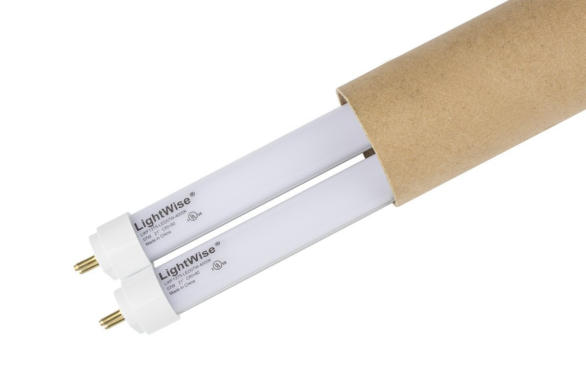 2 Pack of LightWise LWL7W40-F13T5 21'' 7Watts White LED Tube with 4000K to Retrofit for 13W T5 Fluo. Tube in your under cabinet lights to get over 50% Energy Saving! Replace Directly!