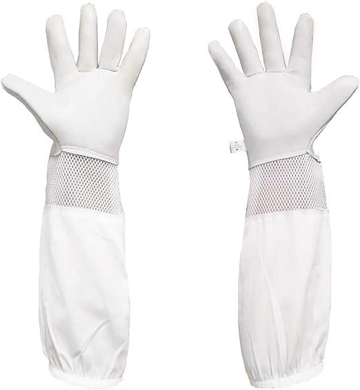 Three Layer Full Mesh Vented Beekeeping Gloves Short Sleeve Beekeeper Farm Tool