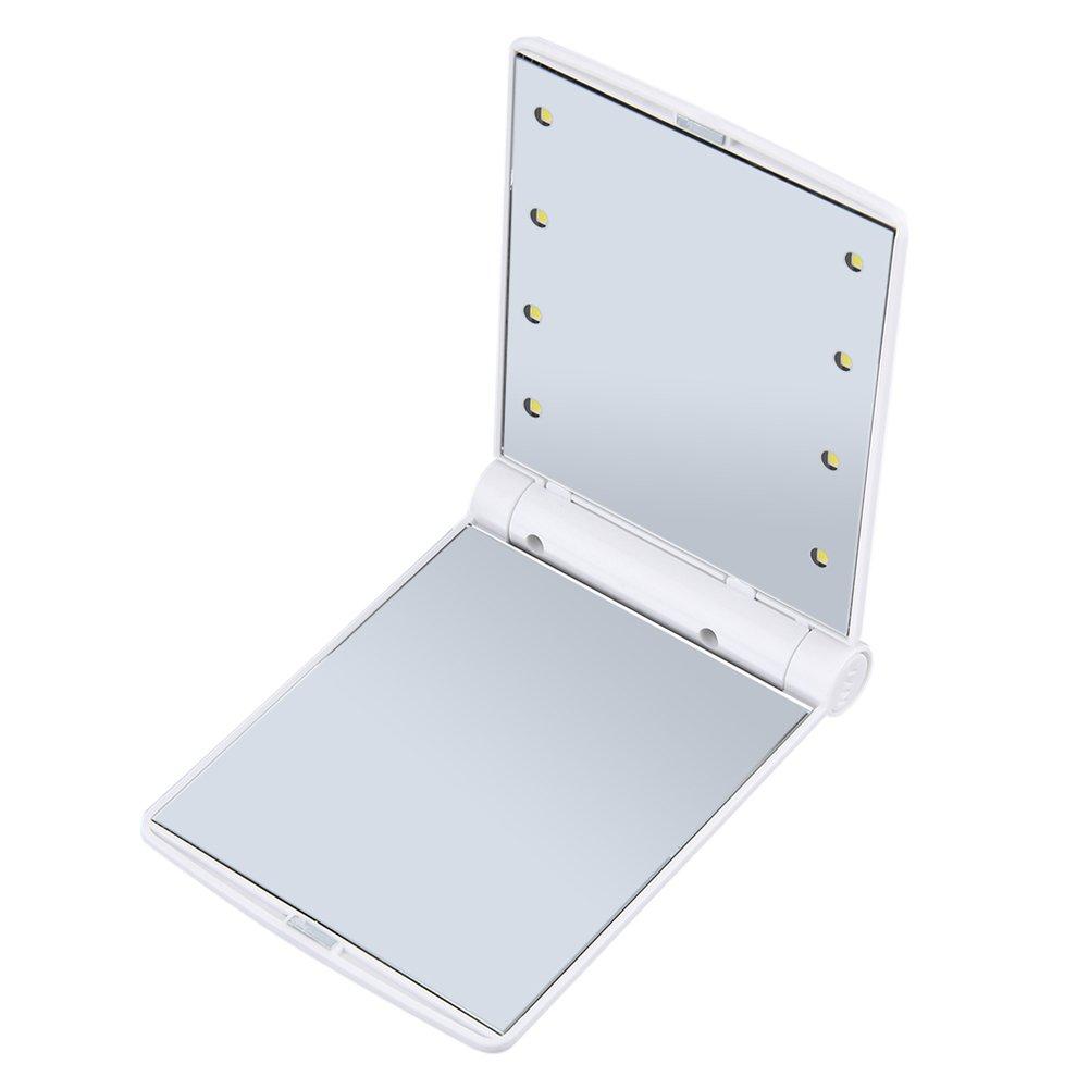 Quanjucheer LED specchio da trucco, specchio cosmetico pieghevole tasca portatile con 8 luci LED per viaggi in uscita specchio cosmetico pieghevole tasca portatile con 8luci LED per viaggi in uscita