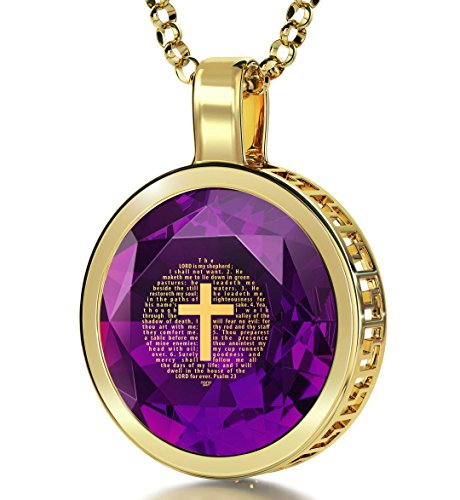 14k Purple Cross - Nano Jewelry 14k Yellow Gold Cross Necklace with Psalm 23 24k Gold Inscribed on Purple Cubic Zirconia Christian Pendant, 18