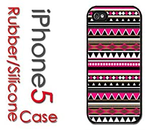 iPhone 5C (New Color Model) Rubber Silicone Case - Pink and Baby Blue Blocks with Grey Chevron Print pattern
