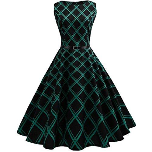 Janly Tee Kleider Damen Kariert Retro Party Kleid Tunika ärmellos ...