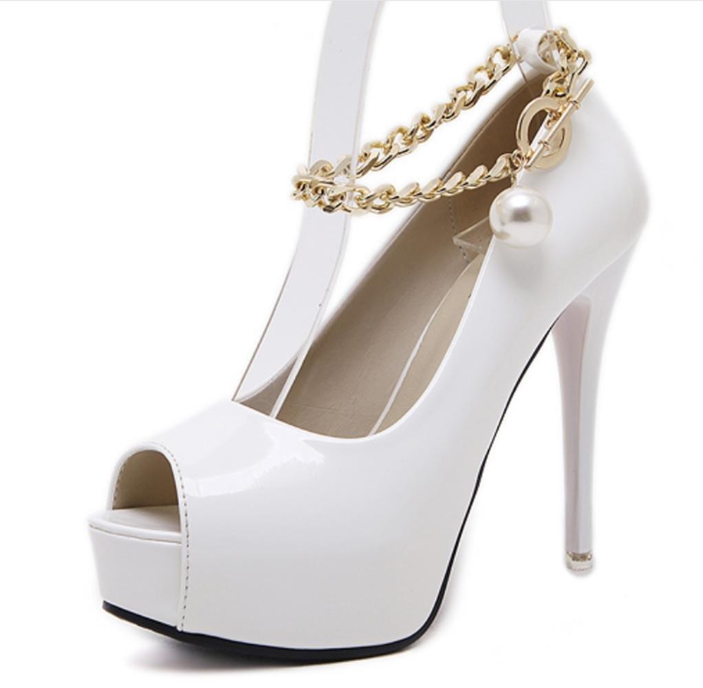 CSDM Women Stiletto Heel Comfortable High-Heeled Metal Trim Fish Mouth Single Shoes Wedding Shoes, white, 36