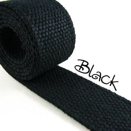 5 Yard Cotton Webbing 1 1/4 Medium Heavy Weight Black