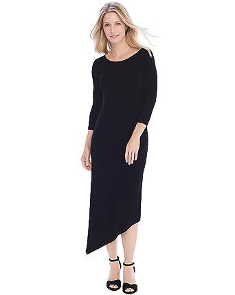 3054a99a60 Chico s Women s Travelers Classic Asymmetrical Hem Dress Size 16 18 XL (3)  Black at Amazon Women s Clothing store