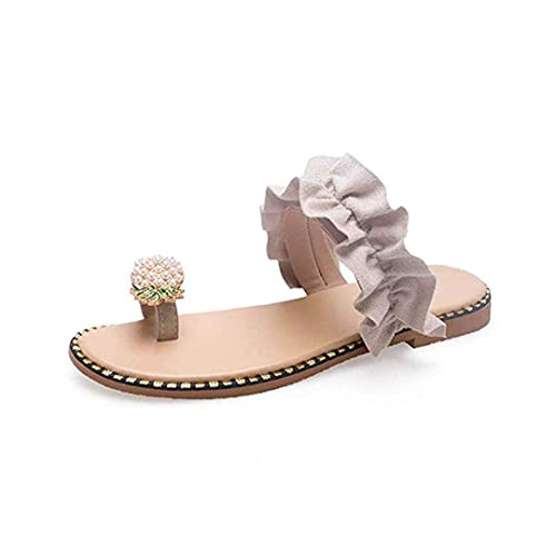 b2cf46ab9ee59 Naimo Women's Pearl Pineapple Rhinestone Sandals Shiny Flat Slippers Summer  Beach Clip Toe Flip Flops
