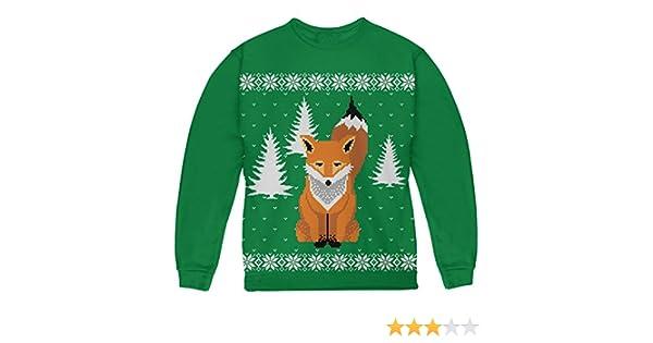 958d5feb Amazon.com: Big Fox Ugly Christmas Sweater Green Youth Sweatshirt: Clothing