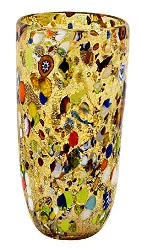 Vase Glass Painted (Boteghe - Real Made in Italy VASO CONICO ARLECCHINO Murano Glass Silver Leaf Murrine Vase Decor Venice Made Italy)