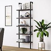 Nathan James 65501 Theo Wood Ladder Bookshelf, Nutmeg
