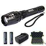 LED Tactical Flashlight, OTYTY Ultra Bright Torch, 1000 Lumens T6 Water Resistant Torch, 5 Light Modes and Adjustable Focus with 2 Rechargeable 18650 Lithium Ion Batteries and Charger