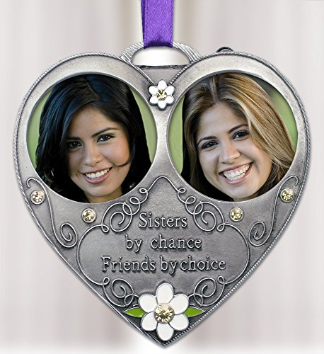Banberry Designs Sisters Photo Ornament - Double Picture Ornament for Sisters - Pewter Metal with White Daisies and Embossed with Saying - Sisters By Chance Friends By Choice - Sister (Silver Embossed Daisy)