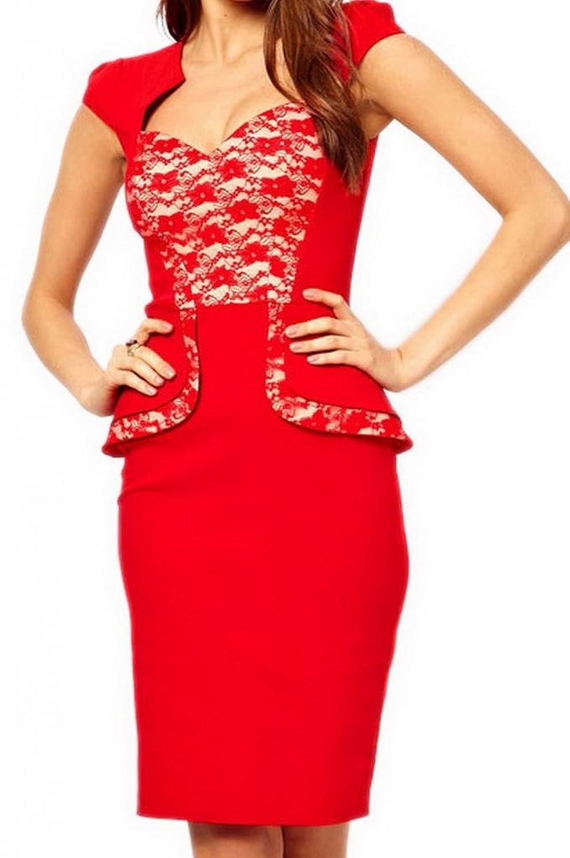 Bigood Women Lace Insert Hybrid Peplum Bodycon Dress with Sweetheart Neckline